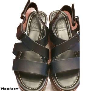 Miz Moos Black Leather Platform Sandals